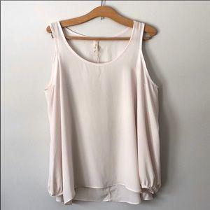 Tops - Cold shoulder cream, sheer scoop neck blouse